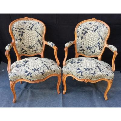 Two Louis XV Armchairs, 18th Century