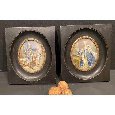 Paire  De Miniatures