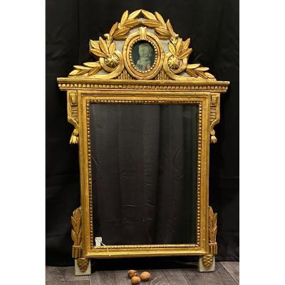 Miroir Louis XVI Avec Une Gravure De Adelaide De Bourbon Et Sa Glace Ancienne