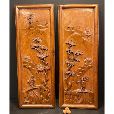 Pair Of Carved Exotic Wood Panels, Asia