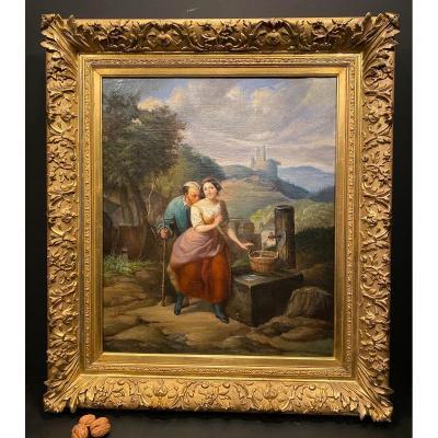 Tableau, Peinture Halte à La Fontaine