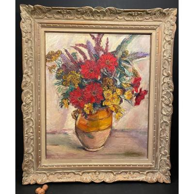 Painting, Table: Bouquet Of Flowers Signed