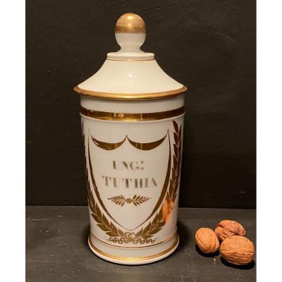 Pot à Pharmacie En Porcelaine, Blanc Et Or .Gosse à Paris