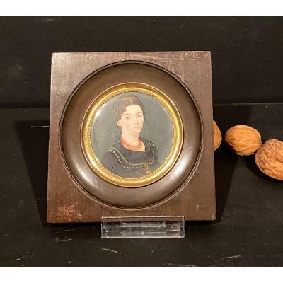 Miniature, Portrait De Femme,xix° Siècle