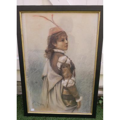 Pastel Signed J Hanriot