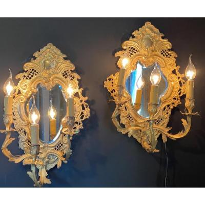 Pair Of Sconces With Ice Background