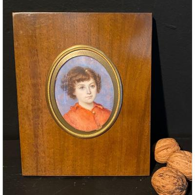 Miniature, Jeune Fille Signée E Guerard