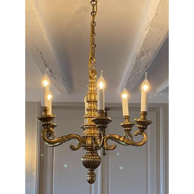 Bronze Chandelier With Six Arms Of Lights