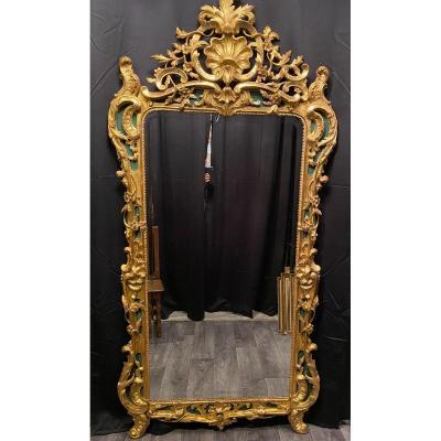 Grand Miroir, Glace Dorée Louis XV De 207 Cm De Haut