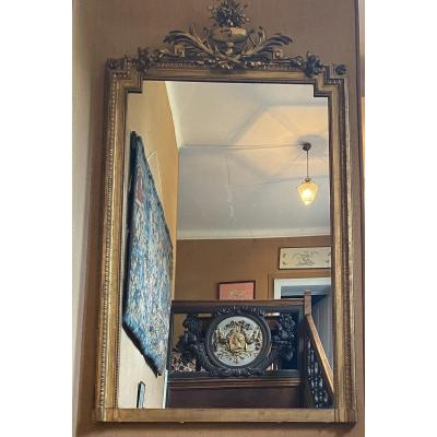 Grand Miroir, Glace Dorée De Cheminée De 212 Cm De Haut