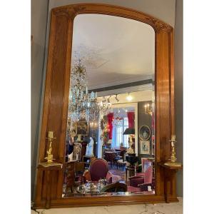 Glace , miroir Art Nouveau En Chêne