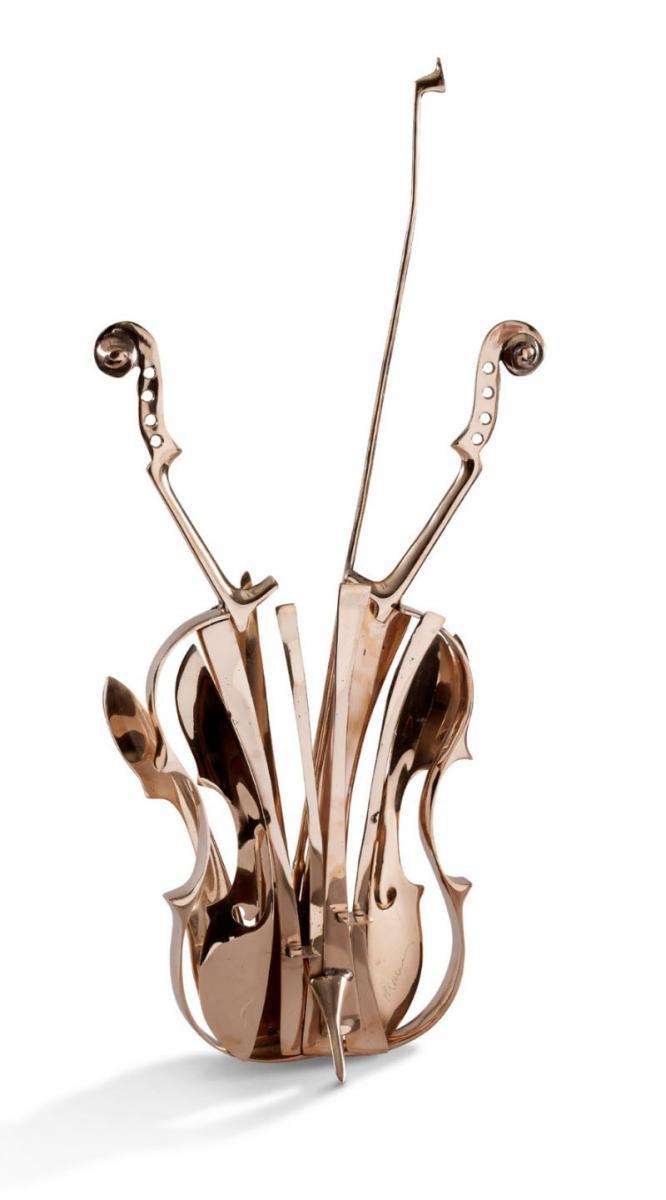 Sculpture en bronze poli - Violon De Venise - Fernandez ARMAN
