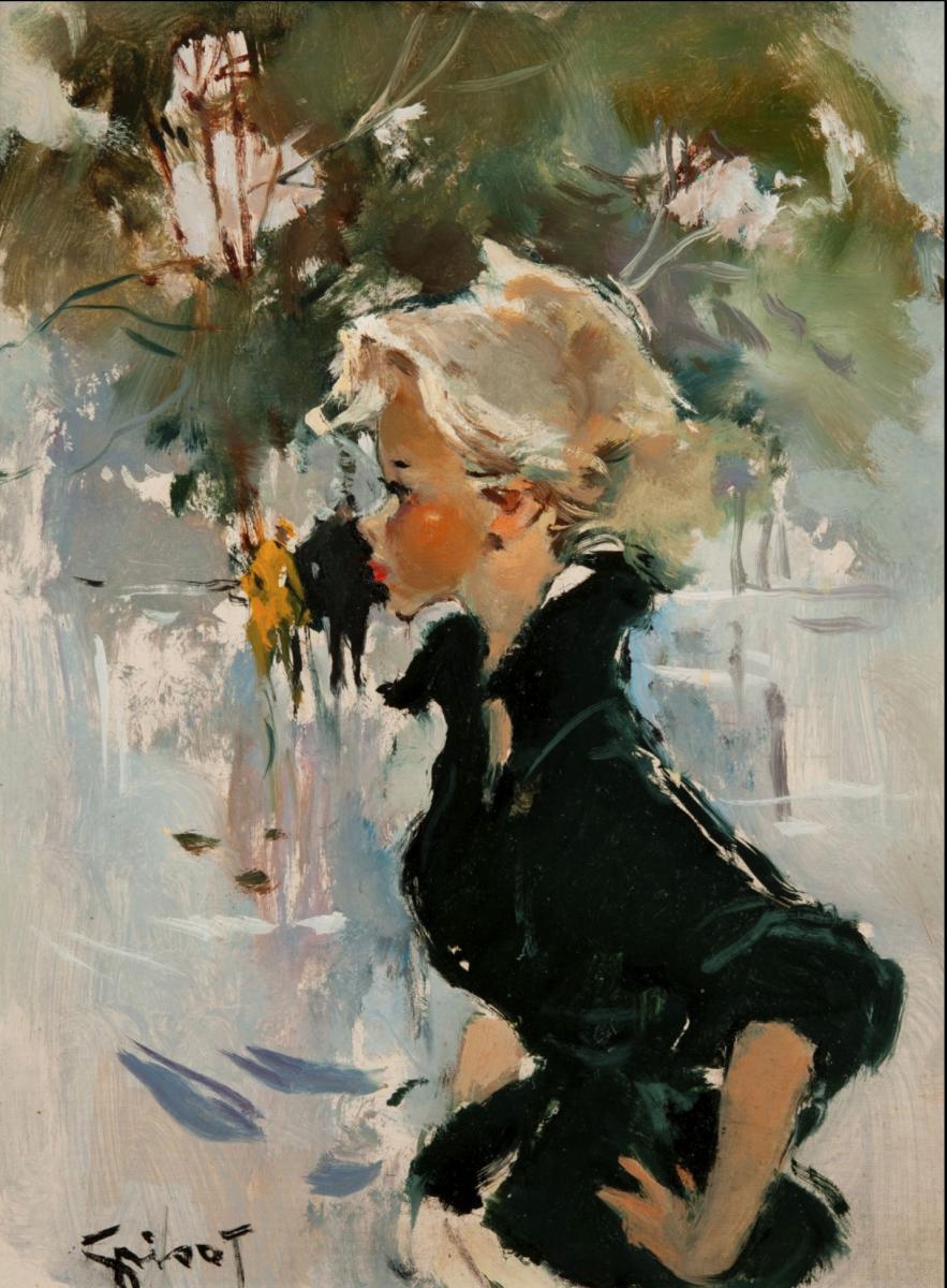 Painting By Pierre Grisot (1911-1995) - Jeune Femme De Profil