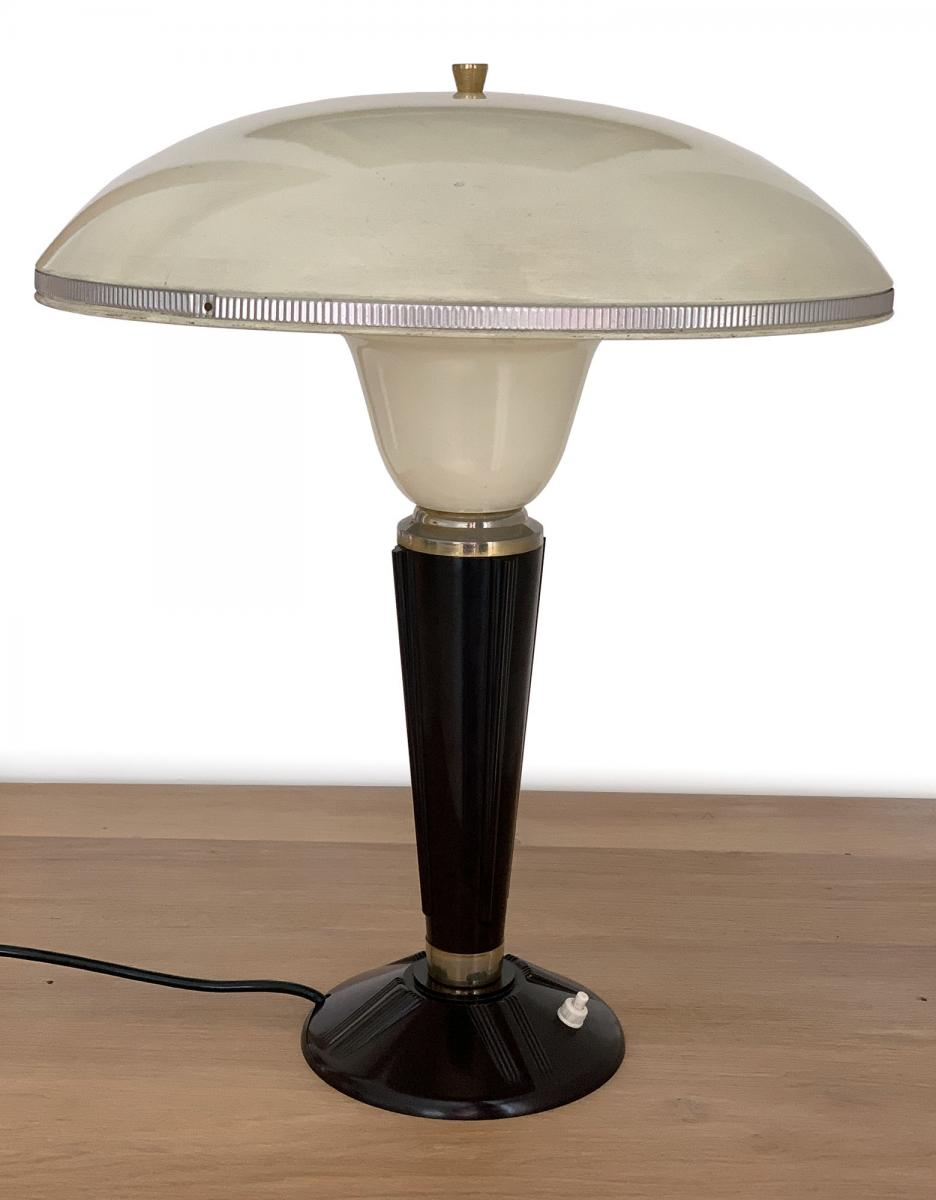 Art Deco Jumo 320 Bakelite Large Reflector Table Lamp Ivory Dark Burgundy And Gold Color Desk Lamps