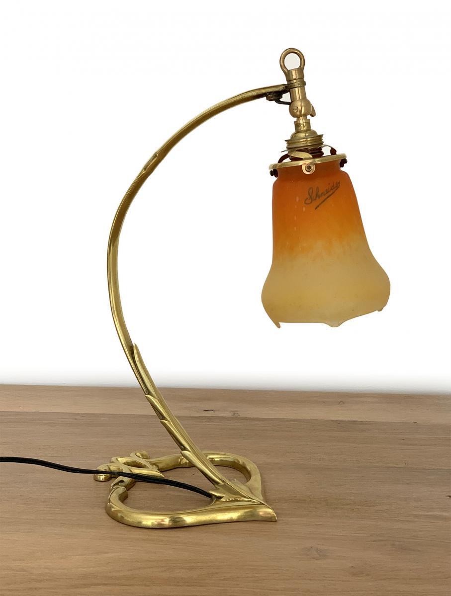 Art Nouveau Desk Lamp - Glass Signed Schneider - Bronze Foot (circa 1920)