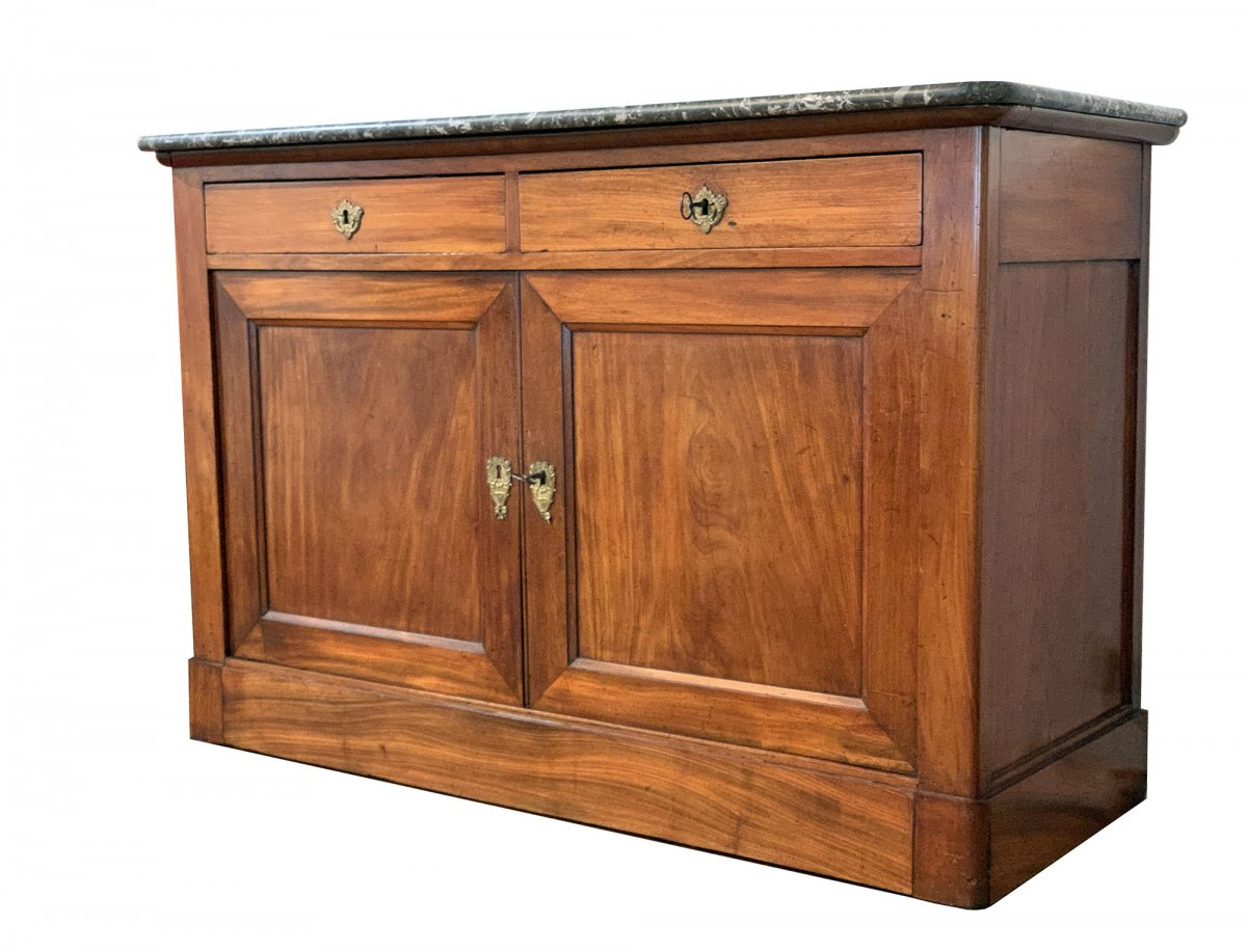 Mahogany Restoration Style Buffet With Black Marble