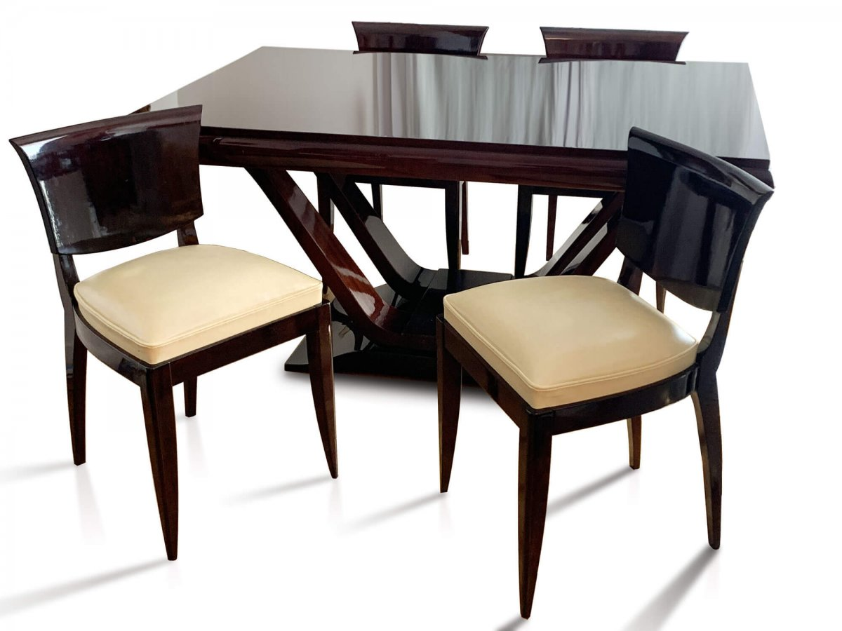 Table Art Deco En Palissandre De Rio Avec 6 Chaises Circa 1930