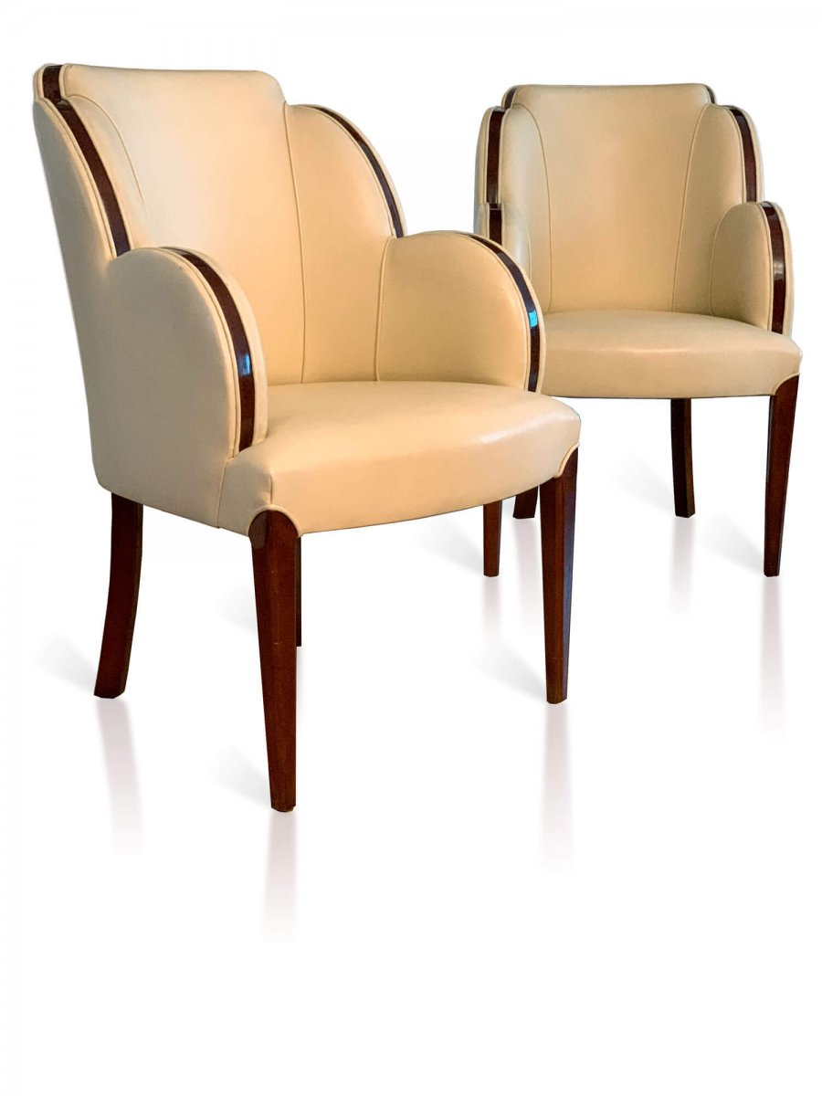 Pair Of  Art Deco Armchairs In Leather And Rosewood
