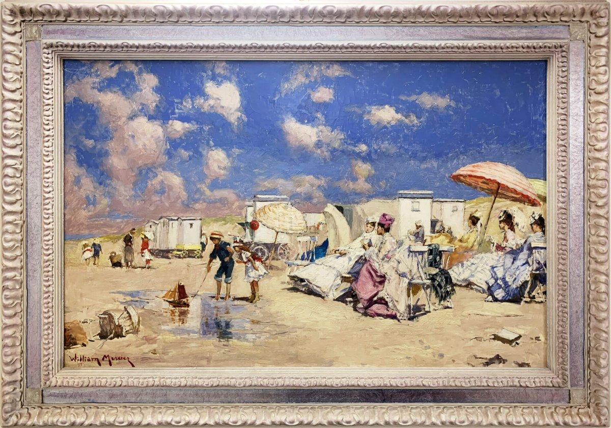 Elégante Sur La Plage à Deauville - Tableau De William Mercier