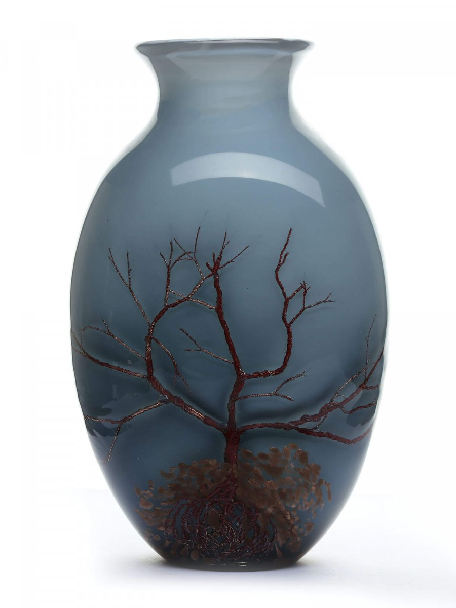 Large Murano Vase - Glass, Copper And Aventurine Wires - 48 Cm