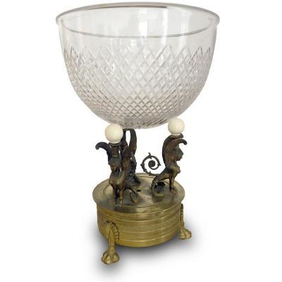 Centre De Table - Petite Athénienne d'époque Napoleon III Avec Vasque En Cristal