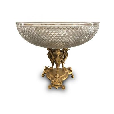 Coupe Sur Piédouche - Centre De Table En Cristal d'époque Napoléon III