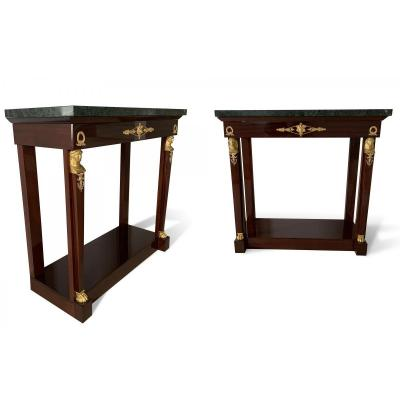 Pair Of Empire Style Consoles In Solid Mahogany