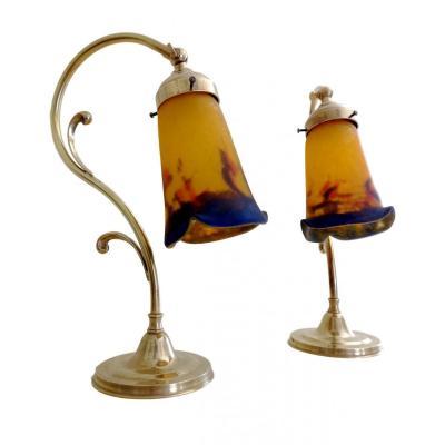 Paire De Lampe Col De Cygne Sur Pied Art Nouveau - Verres Muller Frères Lunéville