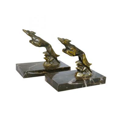 Serre Livre Art Deco - Lévriers En Bronze