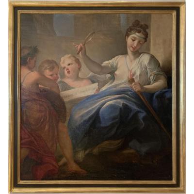 Tableau école Turinoise - l'Origine De l'Amour - Italie XVIIIe Siècle