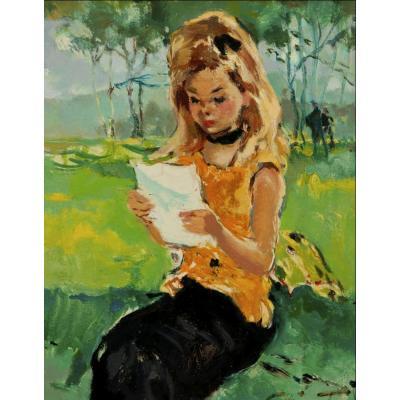 Tableau De Pierre Grisot (1911-1995)-Jeune Fille à la lettre