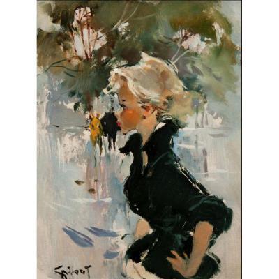 Tableau De Pierre Grisot (1911-1995)- Jeune Femme De Profil