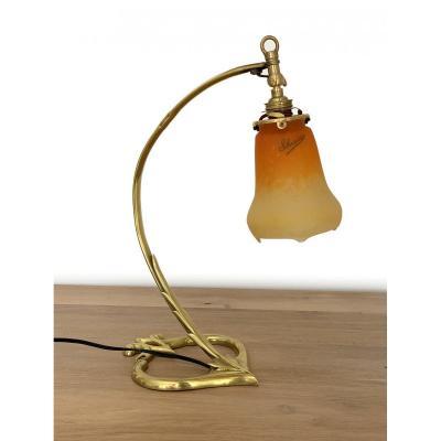 Lampe De Bureau Art Nouveau - Verré Signée Schneider - Pied En Bronze (vers 1920)
