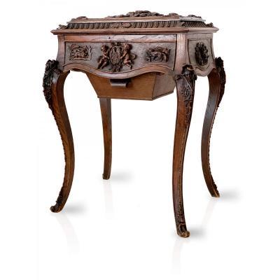 Table Coiffeuse du XIXème - Style Louis XV - ornement en bois Sculpté