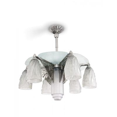 Art Deco Chandelier In Nickel-plated Bronze And Frosted Glass