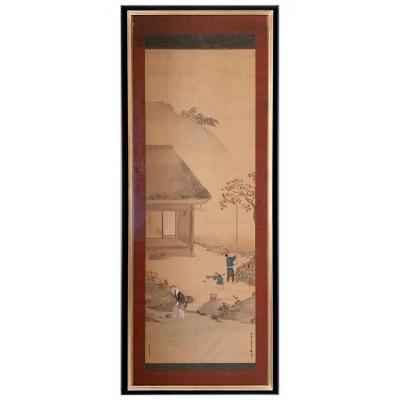 Importante Peinture Sur Soie Asiatique 180x74 Cm - Asie XIXe Siècle