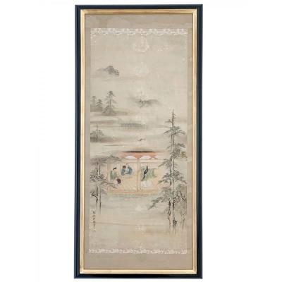 Grande Peinture Sur Papier De Riz - 135x64 Cm - Asie XIXe Siècle
