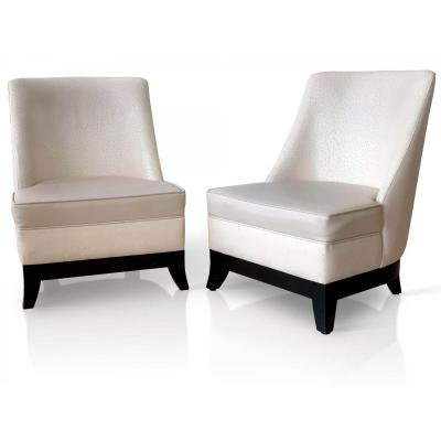 Pair Of Armchairs Art Deco Of The Famous Hotel The Martinez - Leather And Ostrich