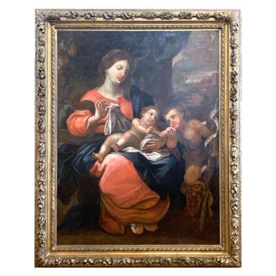 Tableau Madone | Vierge à l'Enfant - Huile Sur Toile - XVIIIe Siècle