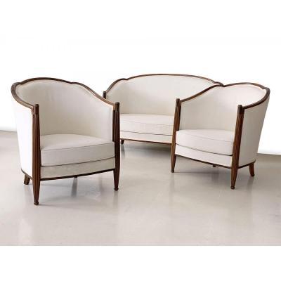 Salon 3 Pièces Art Deco | Fauteuils Et Banquette Avec Inserts En Macassar