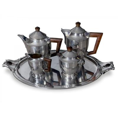 Tea And Coffee Service Art Deco Silver Metal - Circa 1920