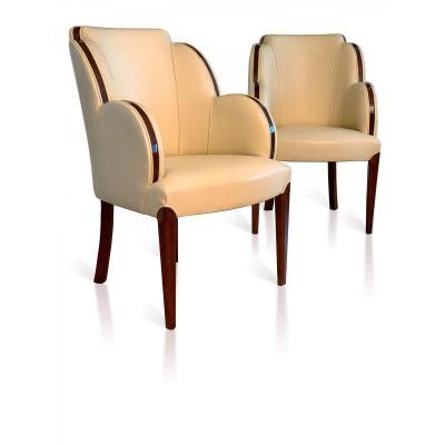 Paire De Fauteuils Art Deco En Cuir Et Palissandre