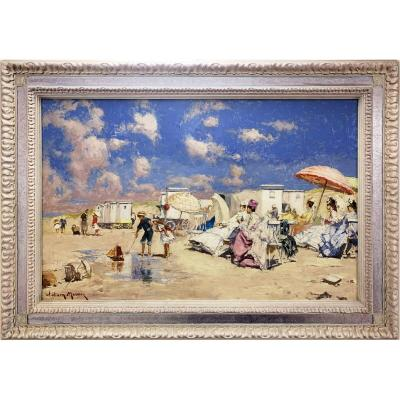 Elegant On The Beach In Deauville - Painting By William Mercier