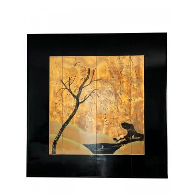 Asian Screen In Black Lacquer And Gold Leaf - Mounted Like A Painting Frame