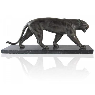 Baghera Panther - Art Deco Sculpture By Max Le Verrier