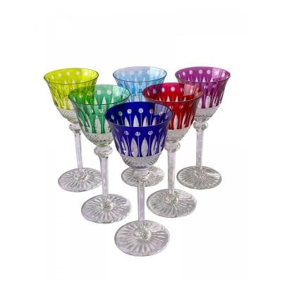 Saint Louis - 6 Verres à eau en cristal - Modèle Tommy Polychrome