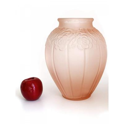 Large Pink Molded Glass Vase - Art Deco
