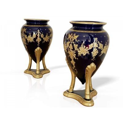 Paire De Vase Art Deco - Gustave Asch (1856 - 1911)