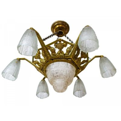 Art Deco Chandelier - Bronze And 6 Tulips - Circa 1930