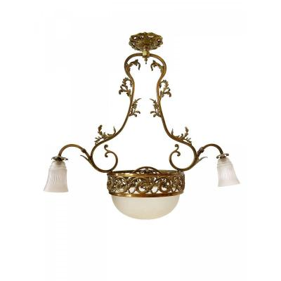 Art Nouveau Chandelier With 3 Lights